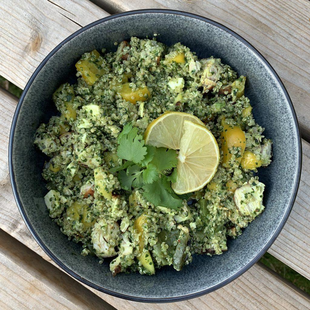 San Fran quinoa salade Jamie Oliver met met gegrilde kip en feta