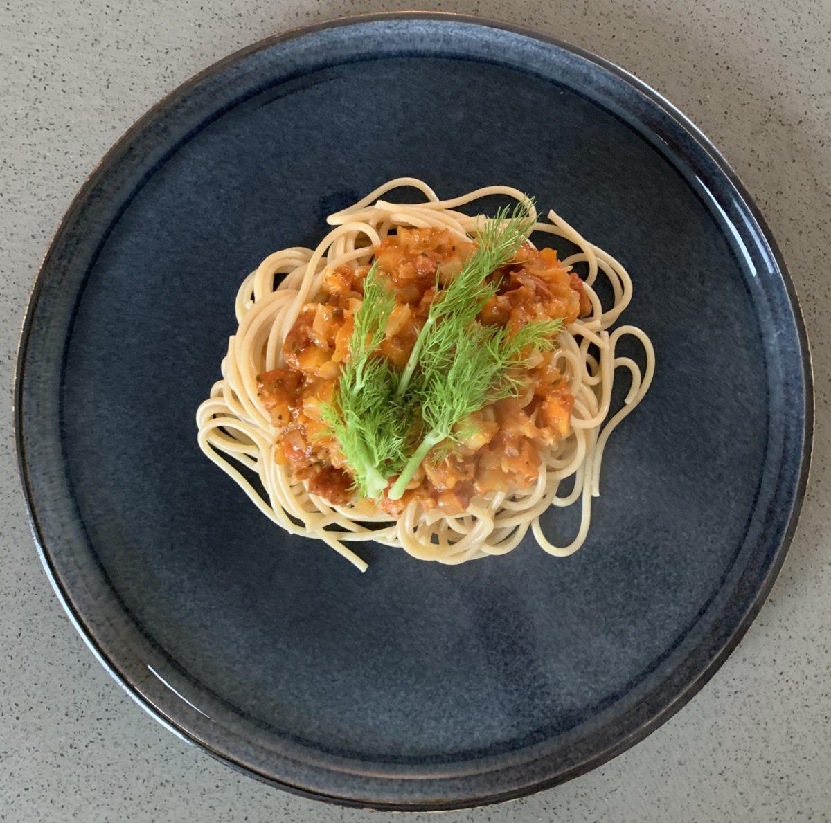 Spaghetti met venkel en chorizo