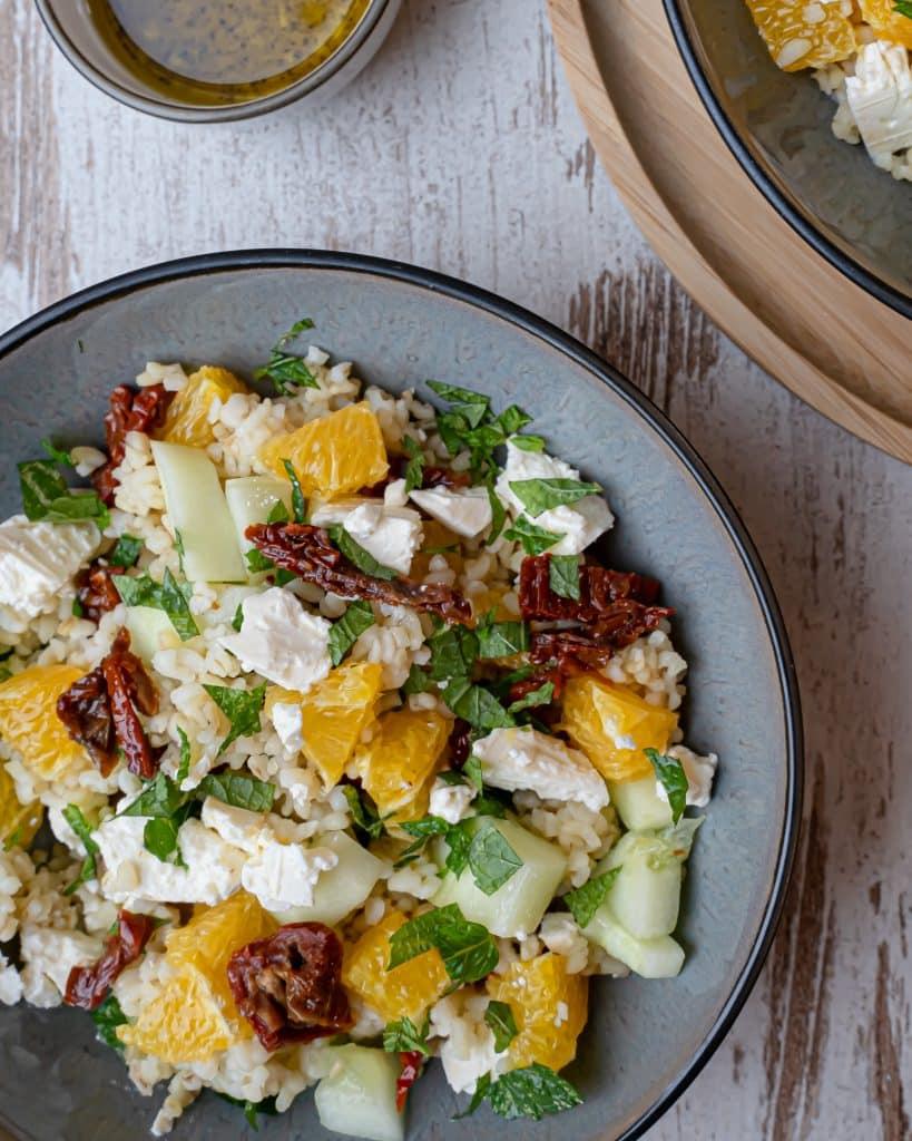 bulgur salade met feta en sinaasappel